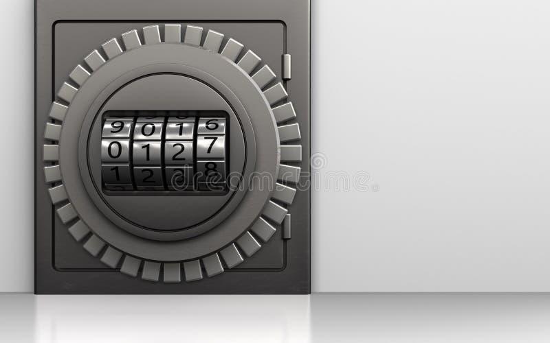 3d metal safe code dial vector illustration