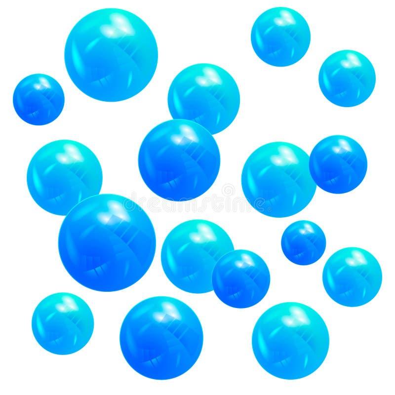 3D metallic blue balls. design element. 3D metallic blue falling balls. design element royalty free illustration