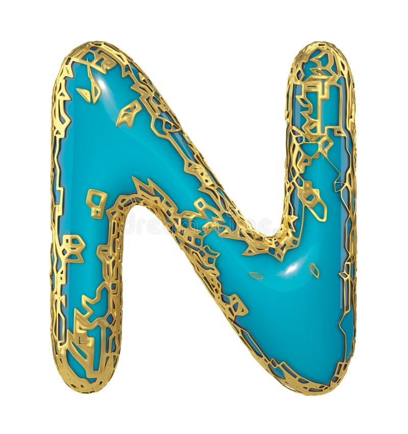 3D metallico brillante dorato con la lettera maiuscola N - maiuscola di simbolo blu della pittura isolata su bianco 3d illustrazione di stock