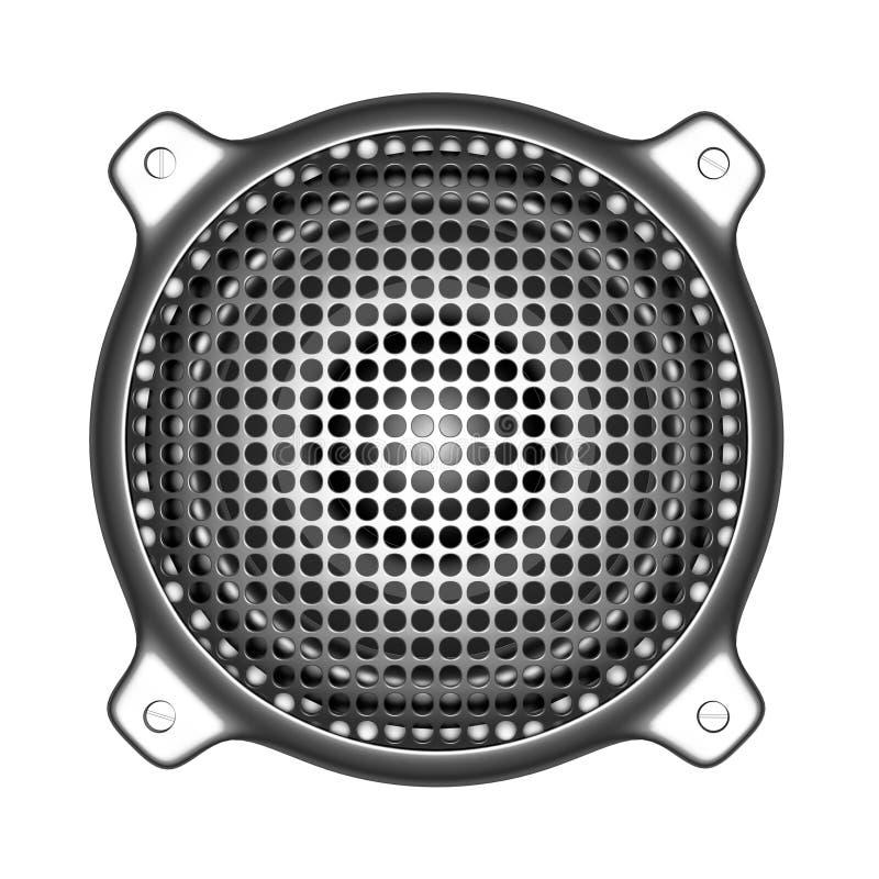 3d metalu mówca z grilla systemu dźwiękowego dj DJ narzędziami ilustracja wektor