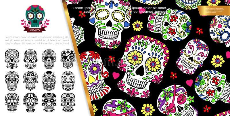 D?a mexicano del concepto muerto ilustración del vector
