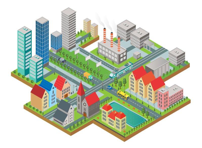 3d miasta isometric trójwymiarowy nowożytny widok Miasto z drogami, drapaczami chmur, cywilnymi budynkami i transportem, ilustracji