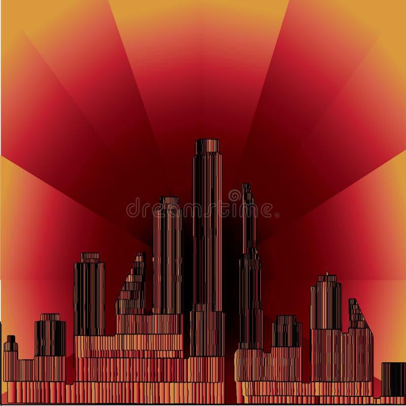 3 d miasta przy nocą, colrod ilustracji