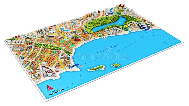 3d miasto mapa ilustracji