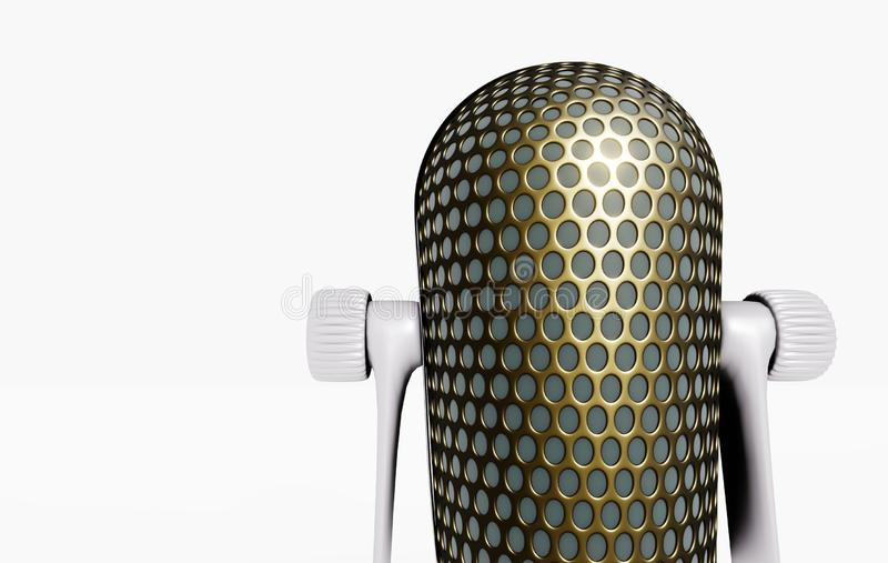 3D microphone on the stand vector illustration