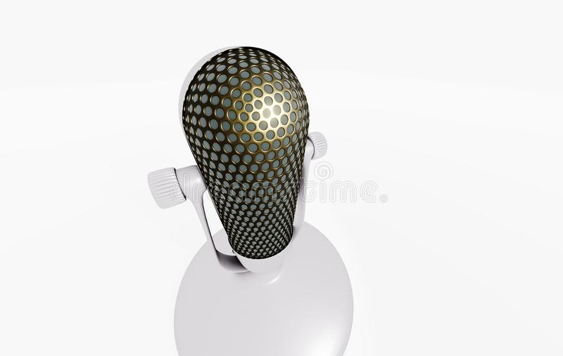 3D microphone on the stand stock illustration
