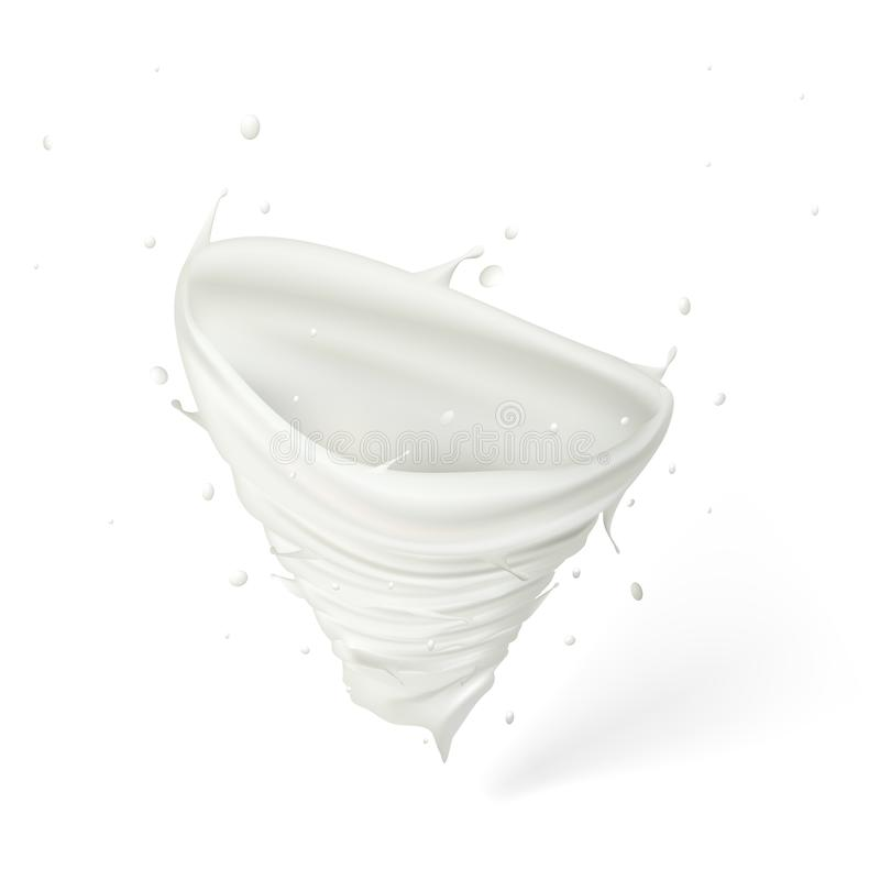 3d Milk Or Cream Spiral Jet Tornado Twisted In The Air. EPS10 Vector royalty free illustration