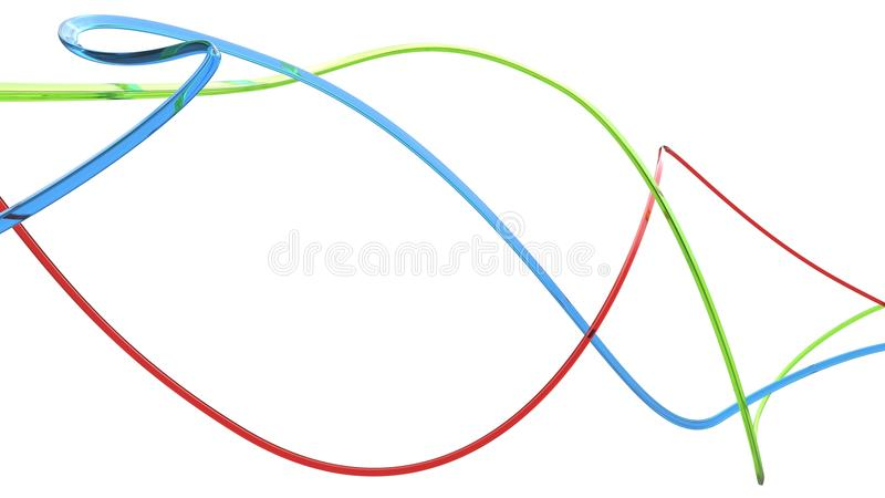 3D mince abstrait de rouge, vert et bleu raye illustration de vecteur