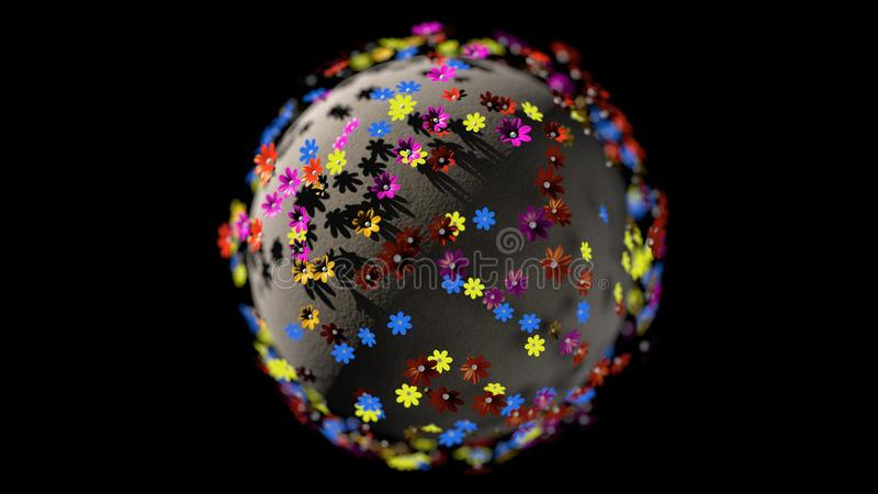 3d miniatures rendent la planète des fleurs de couleur de bande dessinée d'isolement sur le fond noir illustration stock