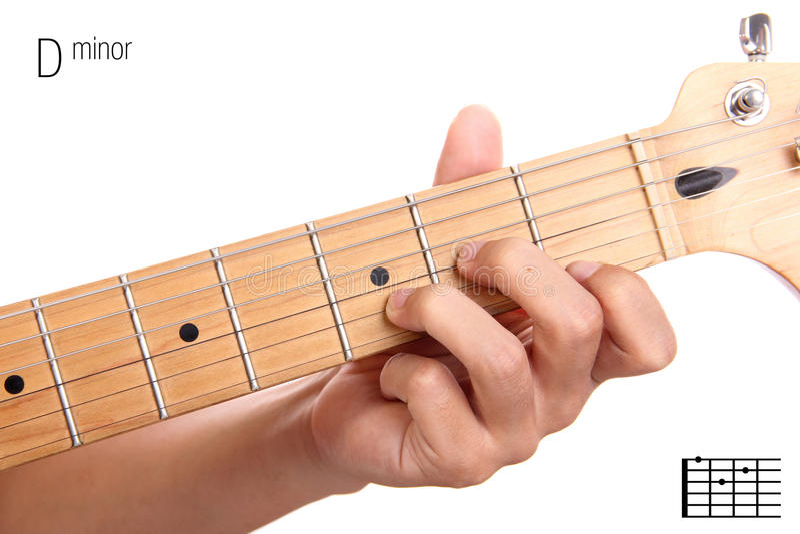 D Minor Guitar Chord Tutorial Stock Image Image Of Entertainment