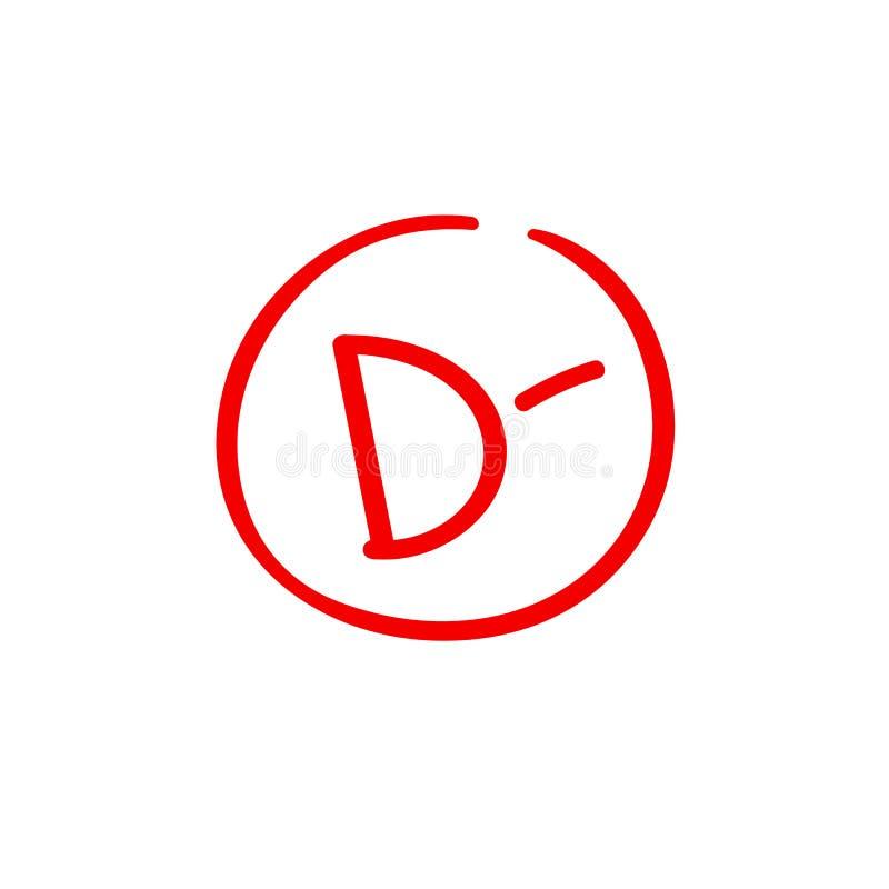 D minus examination result grade red latter mark. D minus examination result grade red latter mark vector illustration