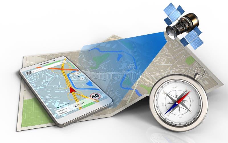 3d mobiele navigatie stock illustratie