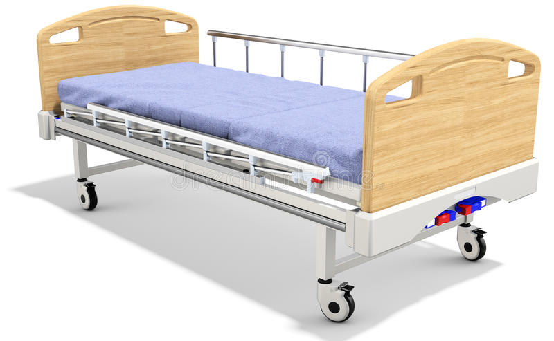 3d mobile hospital bed with recliner. 3d detailed mobile hospital bed with recliner on white background royalty free illustration