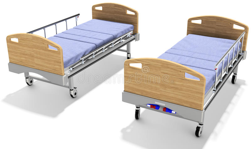 3d mobile hospital beds with recliner. 3d detailed mobile hospital beds with recliner on white background royalty free illustration