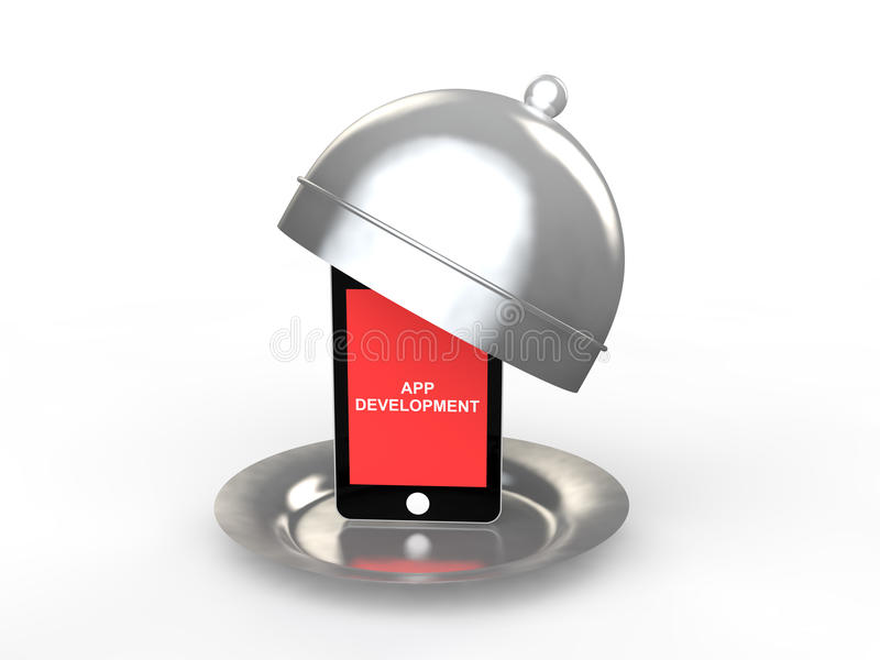 3d mobile phone in a dish app development concept stock photography