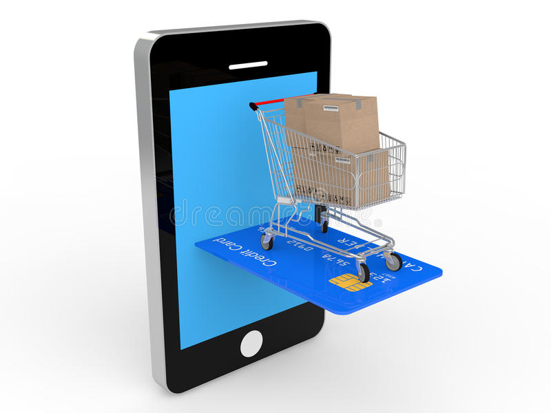 3d mobile shopping concept with credit card and shopping trolley stock photos
