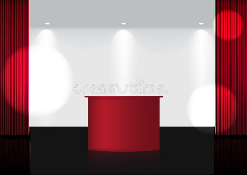3D Mock up Realistic Open Red Curtain on Red Award lub Cinema for Show, Concert or Prezentation with Spotlight Background ilustracji