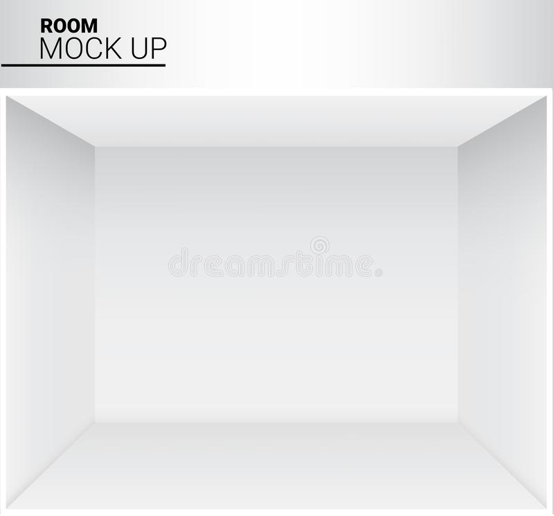 3D Mock up Realistic White Empty Room for Shop, store Exhibition Background Illustration royalty free illustration