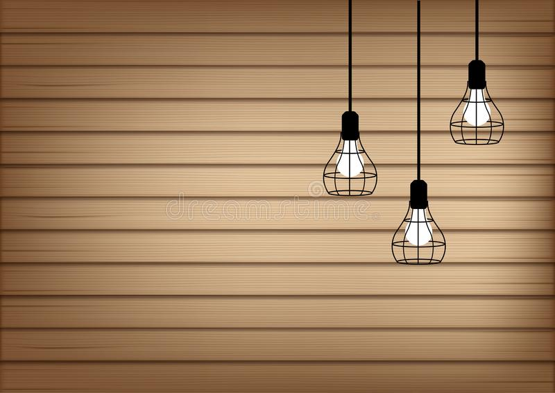 3D Mock up Realistic Wood and Lamp Light Background Illustration. Vector royalty free illustration