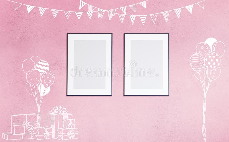3d mockup of poster in sweet baby room with chalk doodles stock illustration