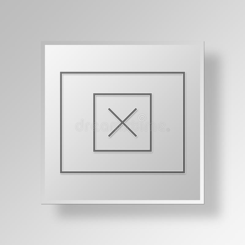 3D Mockup wireframe Button Icon Concept stock illustration