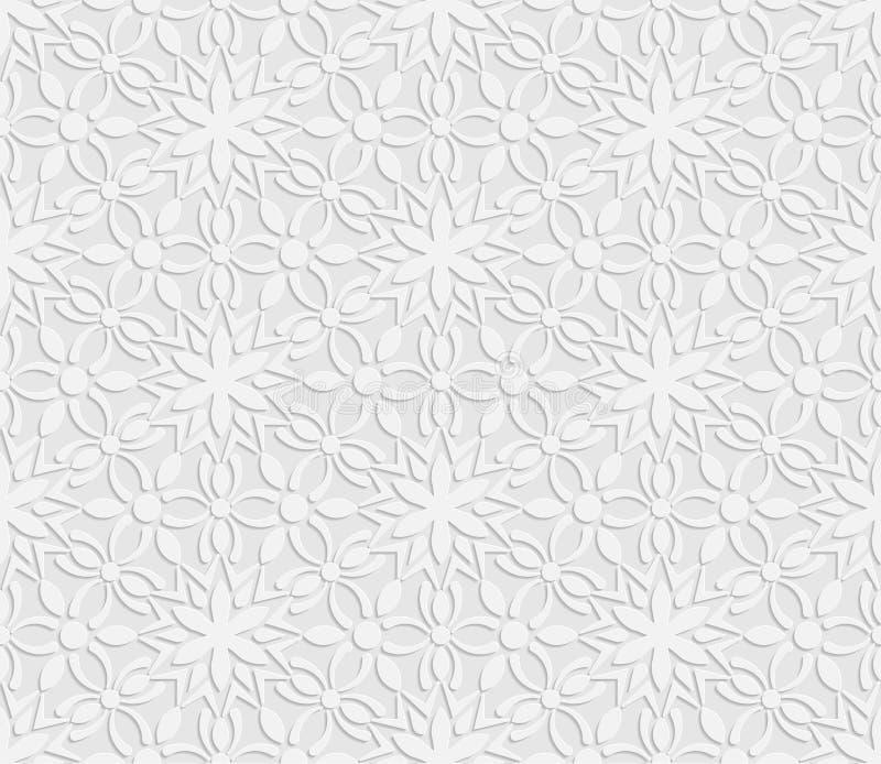 3D modèle blanc sans couture, modèle floral, ornement indien, motif persan illustration libre de droits