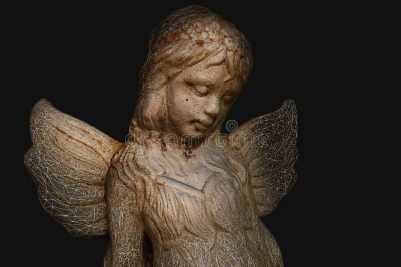 3D model anioła ogródu statua fotografia royalty free