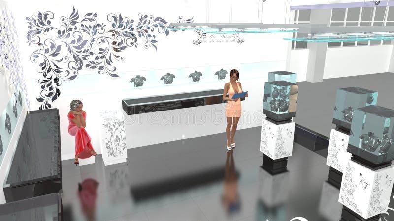 3D model biżuteria salon obrazy royalty free