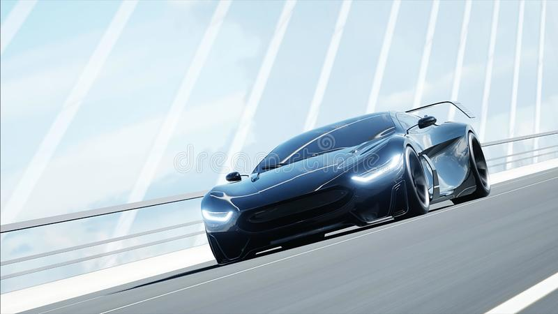 Black Futuristic Electric Car Very Fast Driving In Sci Fi Sity, Town