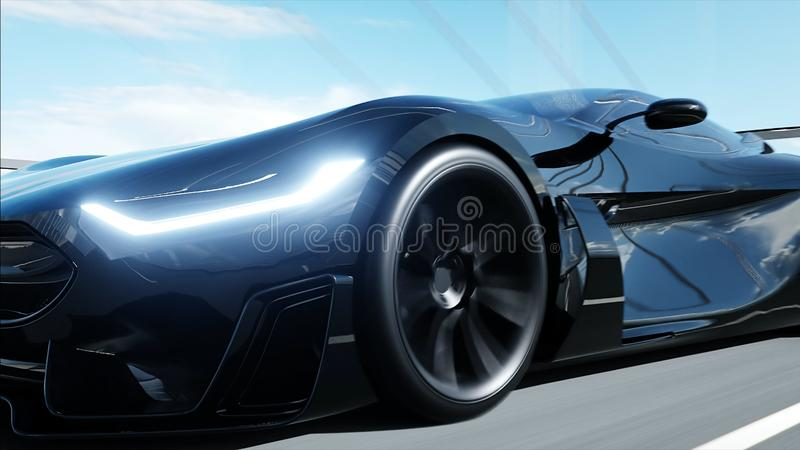 Black Futuristic Electric Car Very Fast Driving In Sci Fi Sity, Town
