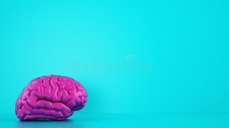 Magenta color brain on cyan background. Medical concept. 3D Rendering royalty free stock images