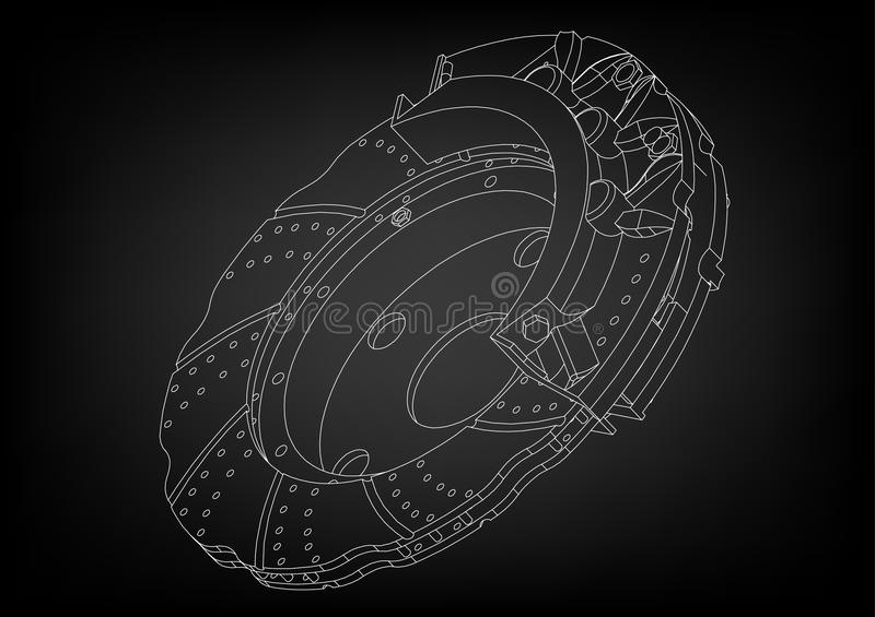 3d model of the brake disc. On a black background. Drawing stock illustration