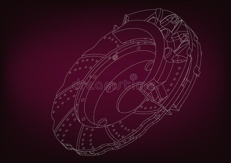 3d model of the brake disc. On a burgundy background. Drawing vector illustration