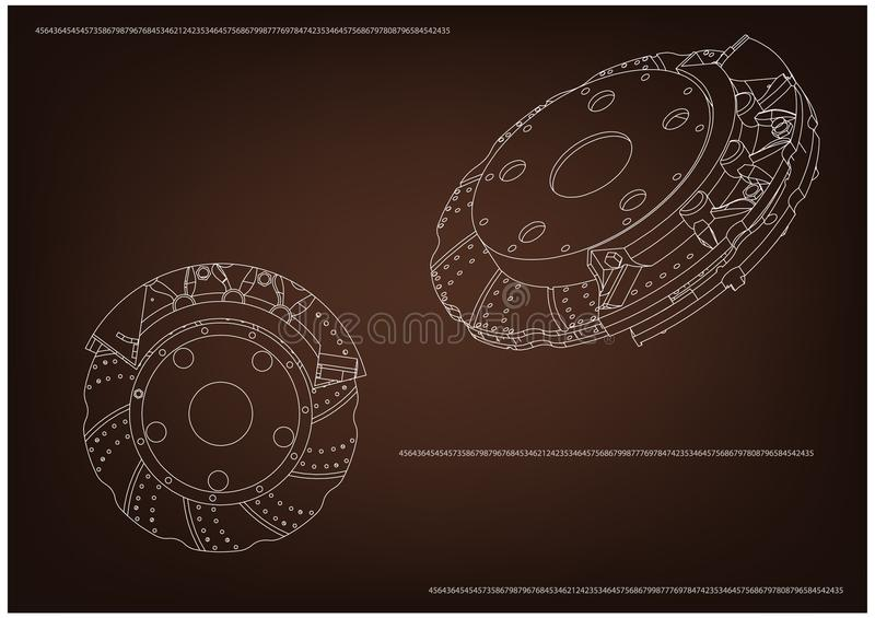 3d model of the brake disc. On a brown background. Drawing stock illustration