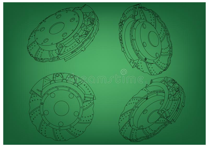 3d model of the brake disc. On a green background. Drawing vector illustration