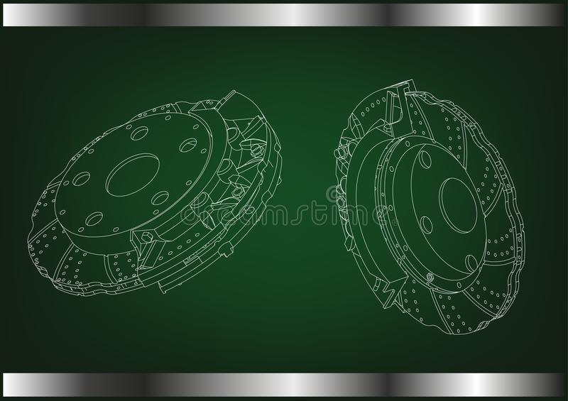 3d model of the brake disc. On a green background. Drawing stock illustration