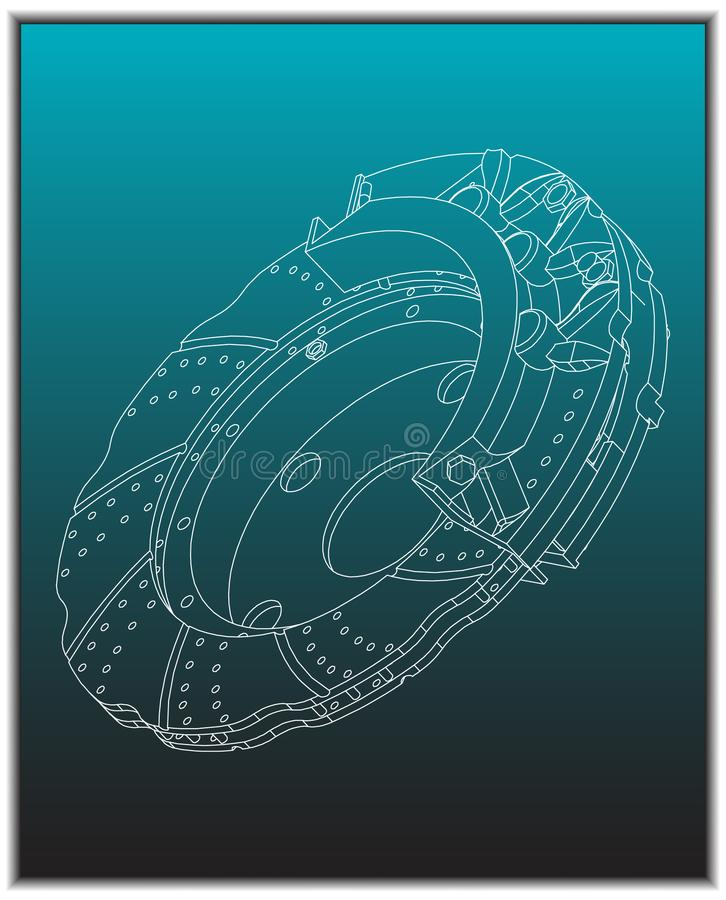 3d model of the brake disc. On a turquoise background. Drawing stock illustration