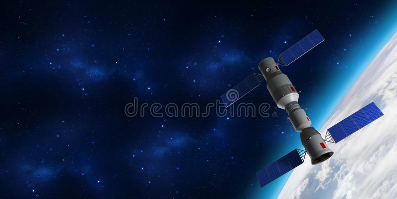 3D model of China`s Tiangong-1 space station orbiting the planet Earth. royalty free illustration