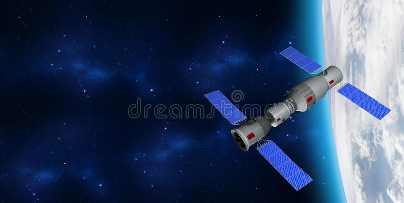 3D model of China`s Tiangong-1 space station orbiting the planet Earth. stock illustration