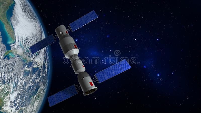 3D model of the Chinese space station Tiangong orbiting the planet Earth vector illustration