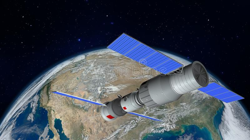 3D model of the Chinese space station Tiangong orbiting the planet Earth royalty free illustration