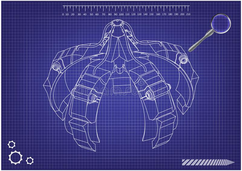 3d model of crane hand on a blue vector illustration