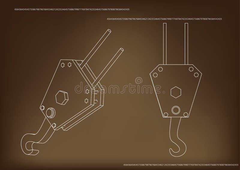 3d model of a crane hook stock illustration