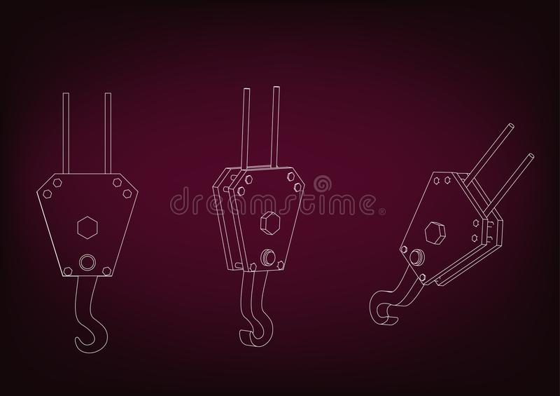 3d model of a crane hook royalty free illustration