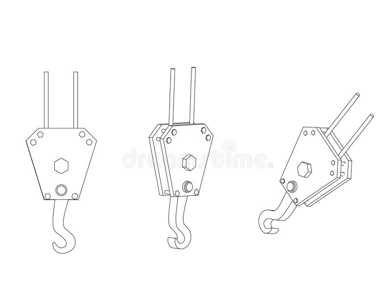 3d model of a crane hook vector illustration