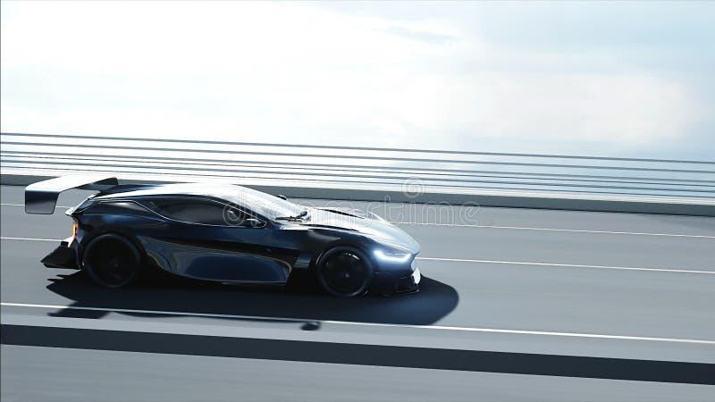 3d model czarny futurystyczny samoch?d na mo?cie Bardzo szybki je?d?enie Poj?cie przysz?o?? ?wiadczenia 3 d royalty ilustracja