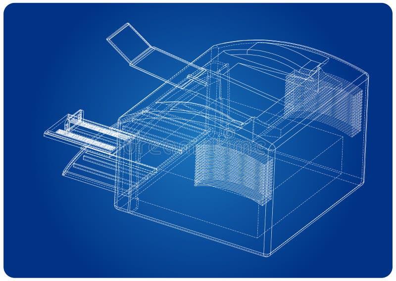 3d model drukarka na błękicie ilustracji