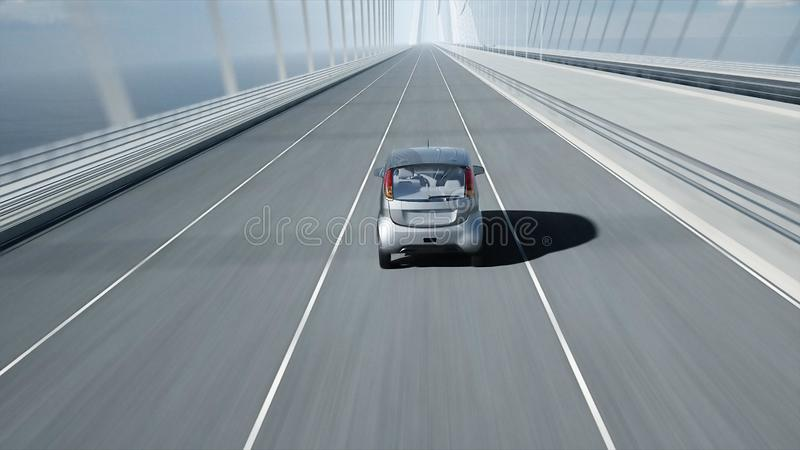 3d model of electric car on the bridge, very fast driving. Ecology concept. 3d rendering. 3d model of electric car on the bridge, very fast driving. Ecology vector illustration