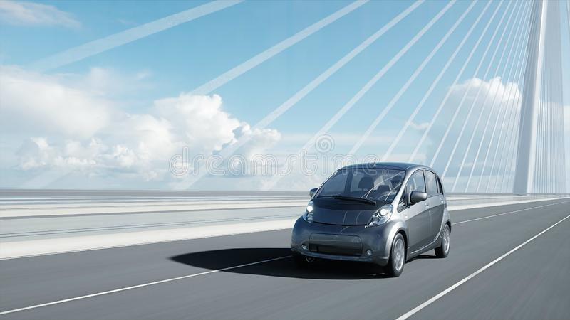 3d model of electric car on the bridge, very fast driving. Ecology concept. 3d rendering. 3d model of electric car on the bridge, very fast driving. Ecology royalty free illustration