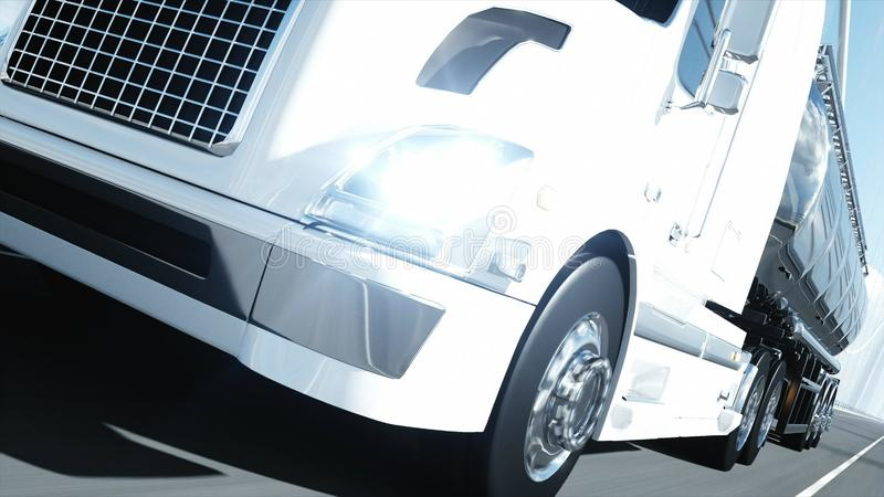 3d model of gasoline tanker, trailer, truck on highway. Very fast driving. 3d rendering. stock illustration